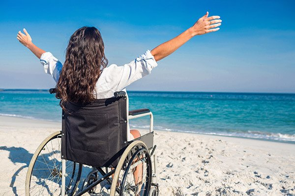 Disabled Girl on Beach